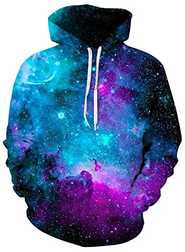 Loveternal Blue Galaxy Design 3D Digital Print Pullover Hoodie Sweatshirt for Women Men with Drawstring Pockets M