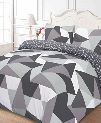 Dreamscene Polycotton Duvet Cover with Pillow Case Bedding Super King - Shapes Black
