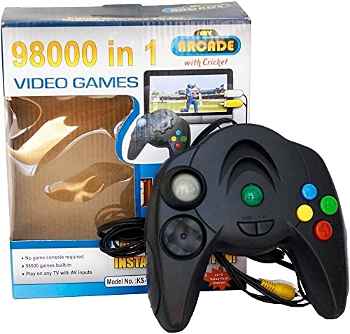 MALIK 98000 in 1 Video Game Pad Direct AV Inputs Single Player Games of Combat, Racing, Action, Like Super Mario, Contra, F1 Racing, Aladin, & Lots of More Plug & Play Device