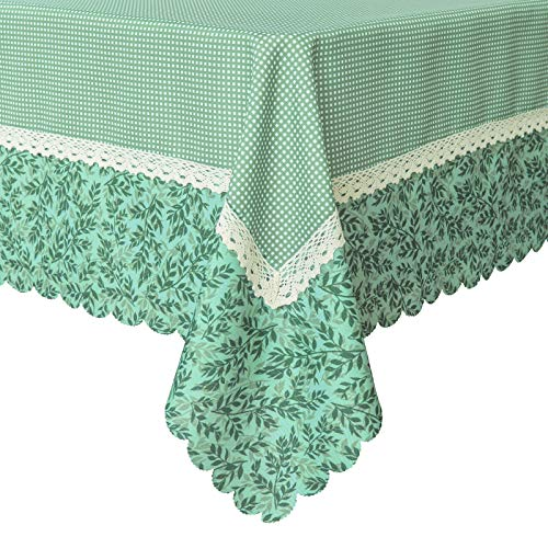 Wewoch Decorative Green Mesh Print Lace Water Resistant Tablecloth Wrinkle Free and Stain Resistant Fabric Tablecloths for Rectangle Table 60 Inch by 120 Inch