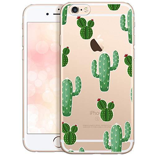 QULT Custodia Compatibile con iPhone 6S Plus iPhone 6 Plus Cover Silicone Morbido Trasparente Chiaro Cristallo Anti-Scratch Bumper Case per iPhone 6/6S Plus con Disegni Cactus con Fiori