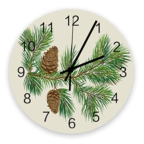 12 Inch Silent Round Wooden Wall Clock Christmas Tree with Green Fir Leaves and Pine Cones Wall Clock, Non Ticking Battery Operated Quartz Home Decor Wall Clocks for Living Room/Kitchen/Office