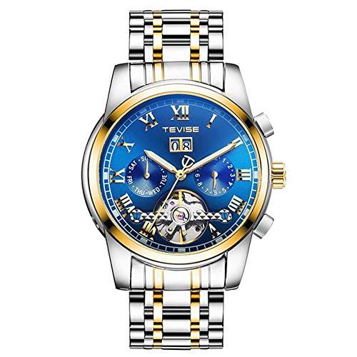 TEVISE 9005 Hochwertige Skeleton Automatische Männer Mechanische Uhr Mondphase Edelstahl Uhr Herren Business Männer Armbanduhren