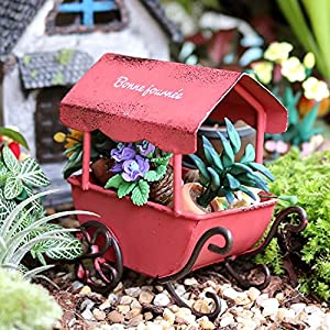 mini metal wheelbarrow miniature rustic wheel barrow with red shed for desktop ornament home decor antique style fairy garden accessories pastoral dollhouse toy for kids farm