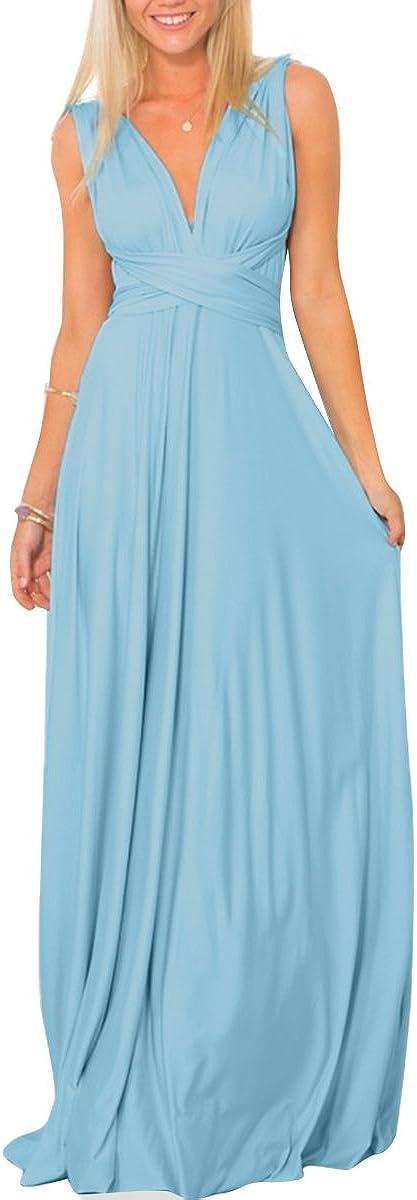 Women Multi-Way Wrap Transformer Evening Dress Convertible Floor Length Wedding Party Long Prom Gown
