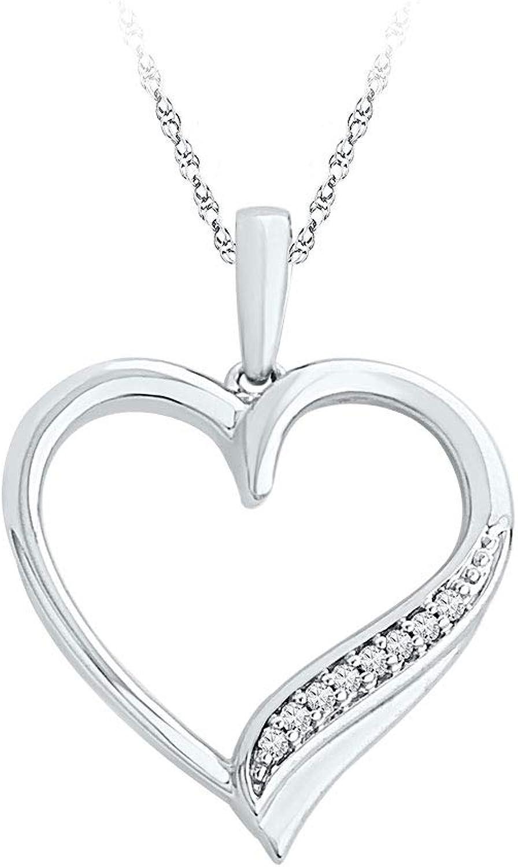 10kt White gold Womens Round Diamond Heart Outline Pendant 1 20 Cttw