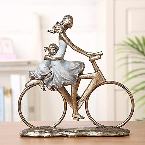 WOREX Escultura Herramientas Bicicleta Padres Figura Padre Resina Madre Miniatura Hija decoración para Hijo Adorno Accesorios