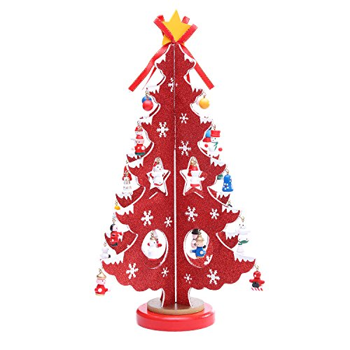 Red Wooden Tabletop Christmas Tree with Mini Ornaments
