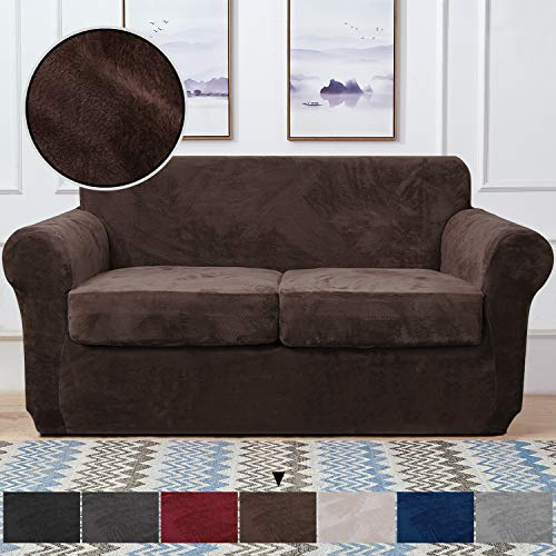 RHF Velvet Couch Cover 3 Piece Couch Covers for 2 Cushion Couch Sofa Covers for 2 Cushion Couch Loveseat Cover Couch Covers for Loveseat with 2 Separate Cushion Cover(Loveseat,Chocolate)