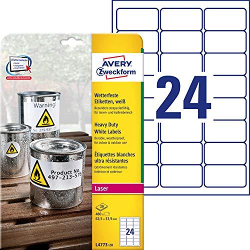 AVERY Zweckform L4773-20 Wetterfeste Folienetiketten (63,5x33,9 mm auf DIN A4, extrem stark selbstklebend, wasserfest, bedruckbare Outdoor Klebefolie) 480 Aufkleber auf 20 Blatt weiß