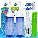 2x Nasendusche Flasche + Nasensprayer - Neti Pot Kit für Erwachsene und Kinder - Nasenspülkanne zur Nasenreinigung und Nasenspülung bei Erkältung und...