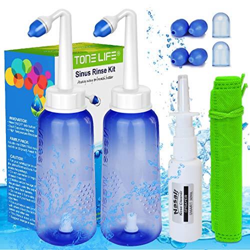 2PCS Neti Pot -|2 Bottle + 4 Nozzle| + Nasal Spray(Bottle Only) - 300ml 10oz Neti Pot Sinus Rinse - Sinus Rinse Kit - Nose Cleaner & Sinus Irrigation - Nasal Sprayer Blocked Nose