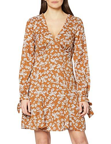 Marca Amazon - find. Mini Vestido Floral Mujer, Marrón (Brown), 40, Label: M