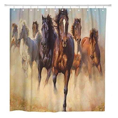JOOCAR Design Duschvorhang, Wildlaufende Pferde in der Wüste, wasserdichter Stoffstoff, Badezimmer-Dekor-Set mit Haken
