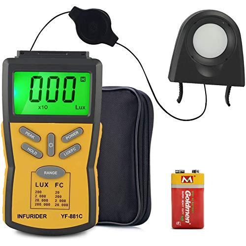Digital Light Meter INFURIDER YF-881C Belichtungsmesser,Lumen Messgerät Photometer Messen mit Bereich bis zu 200.000 Lux,Lichtmesser Lichtmessgerät für...