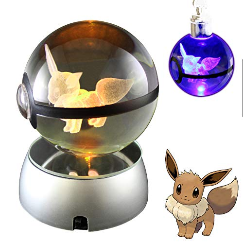 COOLINKO 3D Crystal Ball LED Night Light with LED Keychain Laser Engraving (Eevee)