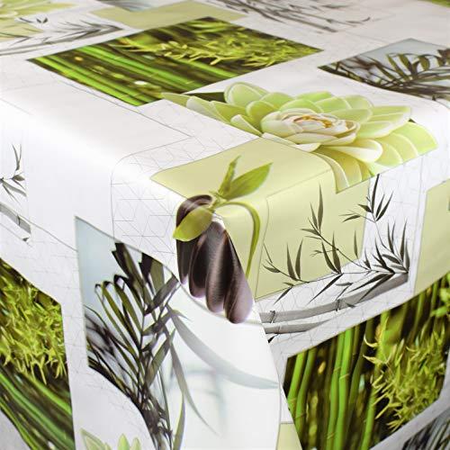 KEVKUS Wachstuch Tischdecke BU40 Wellness Steine Bambus wählbar in eckig rund oval (Rand: Paspel (mit Kunststoffband), 140 x 180 cm oval)