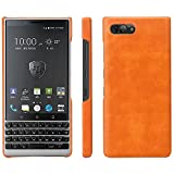 HualuBro BlackBerry KEY2 Hülle, Ultra Slim Premium Leichtes PU Leder Leather HandyHülle Tasche Schutzhülle Hülle Cover für BlackBerry Key 2 Smartphone (Orange)