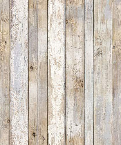 """(Original1 Vintage, Paquete de 2) Papel tapiz de mural autoadhesivo con veta de madera reciclada y rústica 50cm X 3M (19,6"""" X 118""""), 0,15mm Para revestimiento de restauración de muebles, sala de estar"""