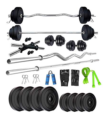 BULLAR One Curl, One Straight Rod+ One Pair Dumbbell Rods, PVC Dumbbell Plates, Exercise Set, Home Gym Kit & Accessories (8KG PVC+3FT CURL+3FT Straight, Black)