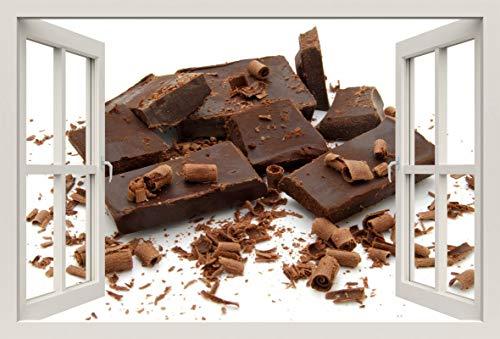 Unified Distribution Schokolade geraspelt - Wandtattoo mit 3D Effekt, Aufkleber für Wände und Türen Größe: 92x61 cm, Stil: Fenster