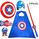 Fundisinn Kids Cosplay Costume Cartoon Superhero Suit 5Pcs Light Sound Shield & Satin Cape & Light Mask & Adjustable Sword & Fire Gloves Dress Up Costumes Halloween for Kid
