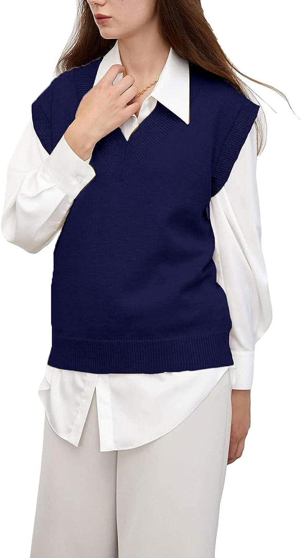 Women's V Neck Knit Sweater Vest Elegant Sleeveless Uniform Pullover Knit Crop Top Elasticity Vest Top