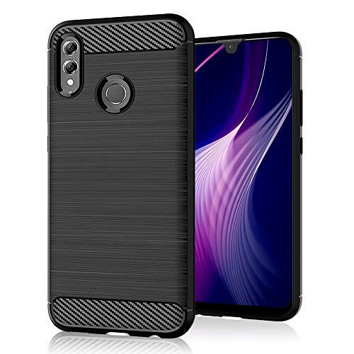 SDTEK Custodia per Huawei P Smart (2019) [Carbonio TPU] Cover Case Bumper Caso Silicone Gel per Huawei P Smart (2019) (Nero)
