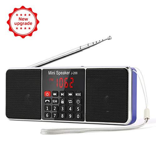 L-288 Radio portátil FM Am con Altavoz estéreo Bluetooth, Temporizador de Apagado, estación de Bloqueo, Tarjeta USB y TF y Reproductor de MP3 AUX, por PRUNUS(Azul)