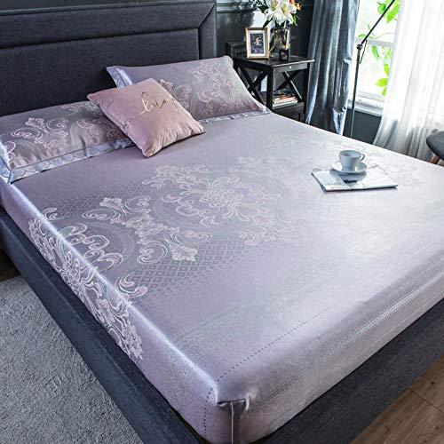 Claean-Acces-Home Sábana Bajera Cool Mat Bed Wrap Bed Estera De Seda Helada Juego De Tres Piezas Individual Doble Tapete Plegable Lavable.-Lina-Rosa_Sábana 150 * 195Cm