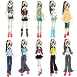 BARWA 10 Sets Doll Clothing Packs Causal Clothes Dress Outfits for Monster High Dolls