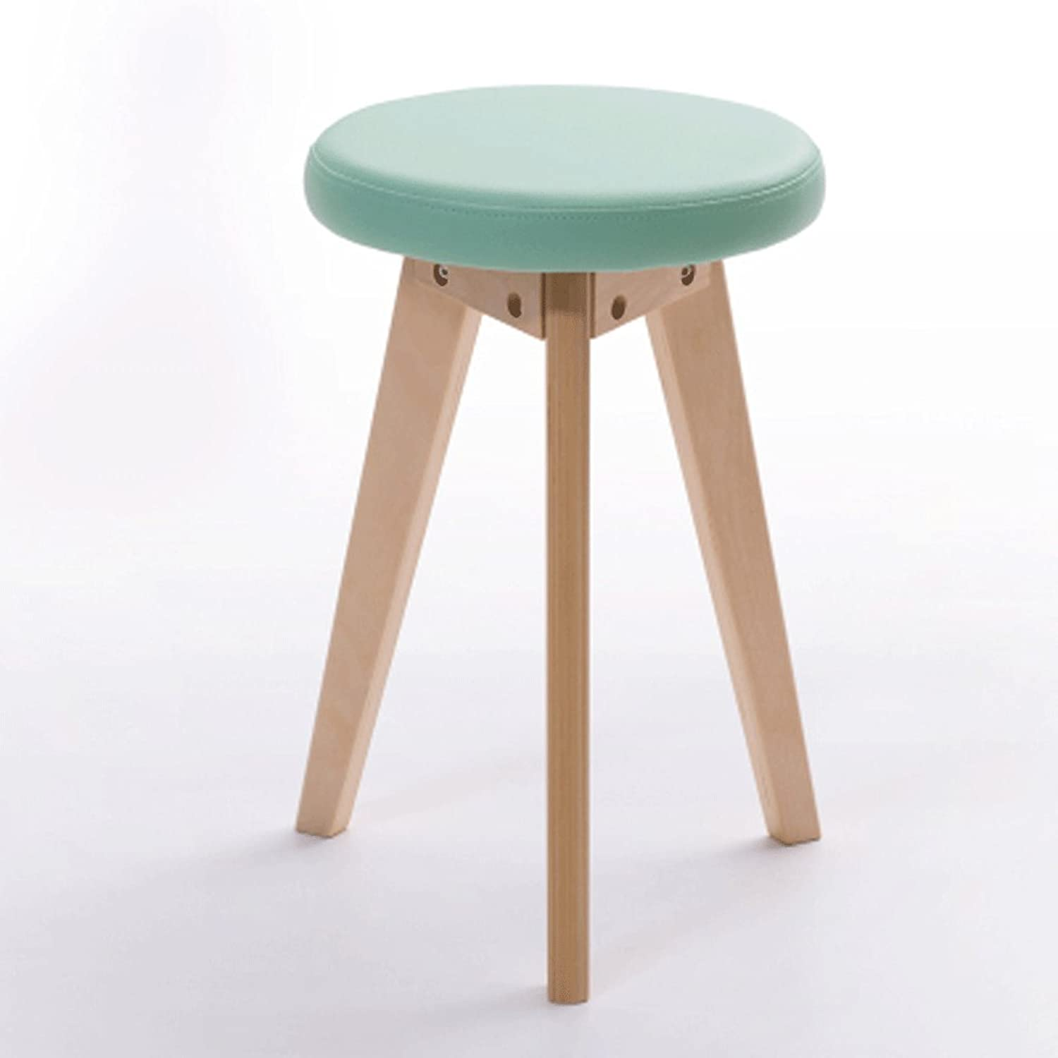 Solid Wood Stool Small Round Stool Stool Stool Dining Chair Leisure Chair Home Creative Leisure Korean Style Dressing Stool Makeup Stool shoes Bench (color   A)
