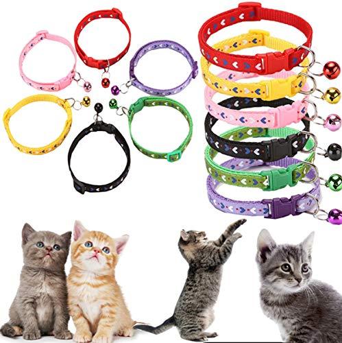 Lirier kattenhalsband, katten, puppy's, verstelbaar, met hanger, anti-verlies, klokjes en veiligheidsgesp, meerkleurig, schattig, kattenhalsband