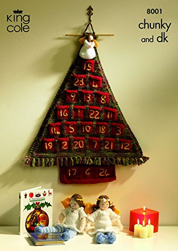 King Cole Christmas Advent Tree & Angels Big Value Knitting Pattern 8001 DK, Chunky