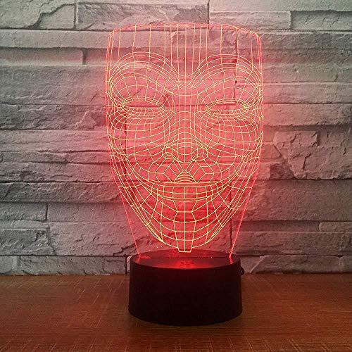 V voor Vendetta Masker 3D Illusie Nachtlampje Disobey Anonieme Man Fawkes Party Decoratieve Verlichting Gloeiende LED Lamp