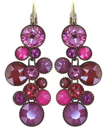 WATER CASCADE Ohrhänger in Pink | KONPLOTT - Exklusiver Designer-Modeschmuck mit Swarovski Elements | Ohrring mit Glitzer-Steinen | Ohrstecker für Damen | Schönes Geschenk