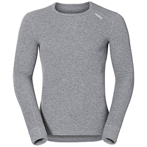 Odlo Herren Langarm Tshirt Crew Neck Warm, Grau (Grey melange), S