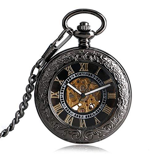 FMXKSW Reloj de Bolsillo Vintage Hollow Glass Case Black Golden Número Romano Dial Esqueleto Auto-Viento Fob Relojes de Bolsillo con Chian