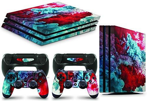 giZmoZ n gadgetZ GNG PS4 PRO Konsolen-Gehäuseaufkleber, Motiv: Colour Explosion, inklusive 2er-Set mit Aufklebern für Controller