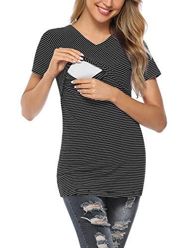 Aibrou Camiseta Lactancia Mujer Verano Camisetas Premama Manga Corta Ropa Premamá Camisetas de Algodon