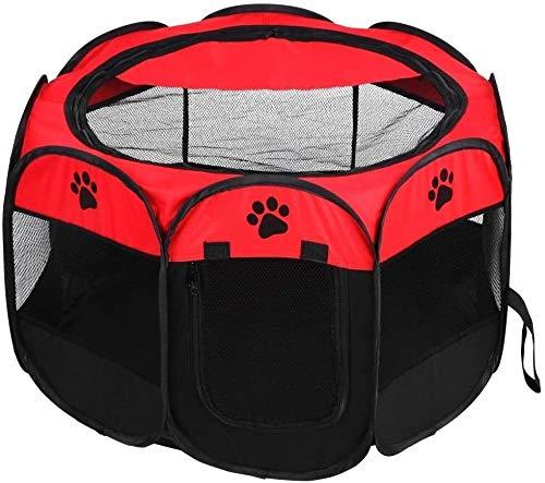Haustier-Hundehütte Haustier Hund Katze bewegliche Faltbare Käfig Exercise & Play Tent Ineinander greifen-Abdeckung Indoor/Outdoor-Einsatz (Farbe: rot) for Hund Katze
