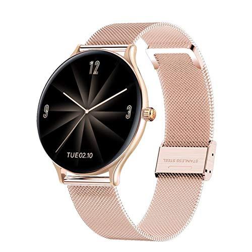 2021 Smart Watch Hombres Ritmo cardíaco Sangre Oxygen Message Message Mensaje Impermeable Deporte Pantalla táctil Completa Acero Inoxidable Smartwatch (Color : Mesh Belt Rose Gold)
