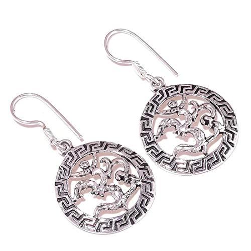Ohm Earrings Silver Overlay Handmade OM Drop Dangle Earrings Best Gift for Women Girls