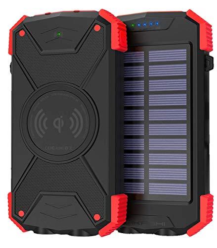 AKASHI TECHNOLOGY - Bateria de energía solar de 10000 mAh, cargador de inducción inalámbrico USB / USB-C +, a prueba de golpes, IPX4, linterna - Negro