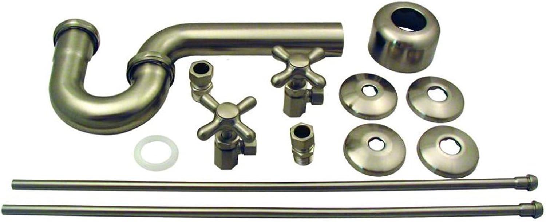 Westbrass Lavatory Kit Traditional Pedestal Cross Handles D1838L-07, Satin Nickel
