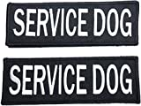 Leashboss Service Dog Patches for Vest - Embroidered 2 Pack - Hook and Loop Both Sides - Sizes 3 (Service Dog, 2 x 6 Inch)