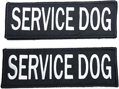 Leashboss Service Dog Patches for Vest - Embroidered 2 Pack - Hook and Loop Both Sides - 3 Sizes (Service Dog, 1.5 x 4 Inch)