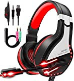 NPET HS10 Stereo Gaming Headset for PS4, PC, Xbox One Controller, Noise Cancelling Over-Ear Headphones with Mic, Soft Memory Earmuffs, LED Backlit, Volume Control (Red)