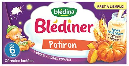 Blédina Blédîner 6 briques Céréales Lactées aux Légumes Potiron dès 6 mois (Pack de 3x2 briques)