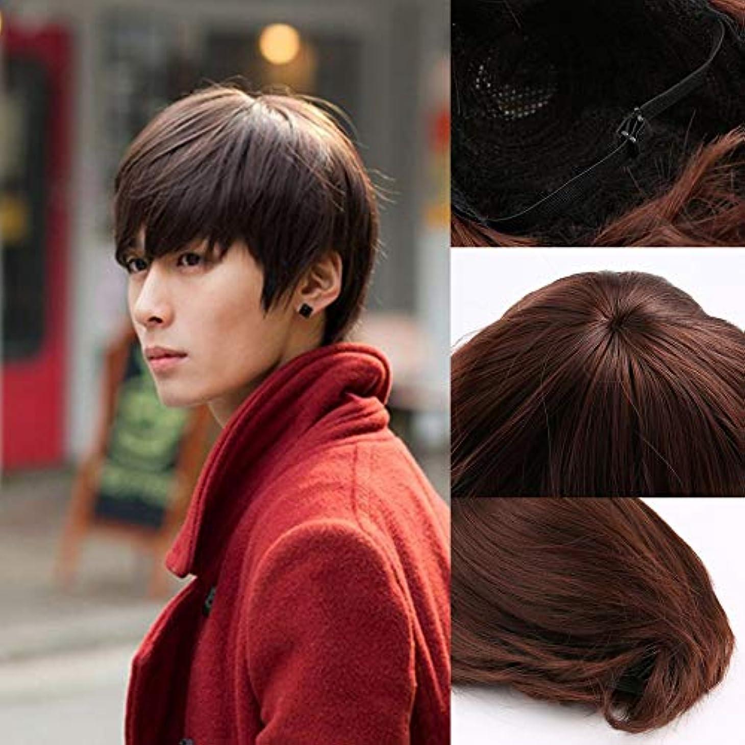 まろやかなデッキ撃退する韓国人男性のハンサムなショートストレートヘア合成フルウィッグコスプレパーティー3色繊維通気性フィット別のヘッドタイプ(Color:Dark brown)